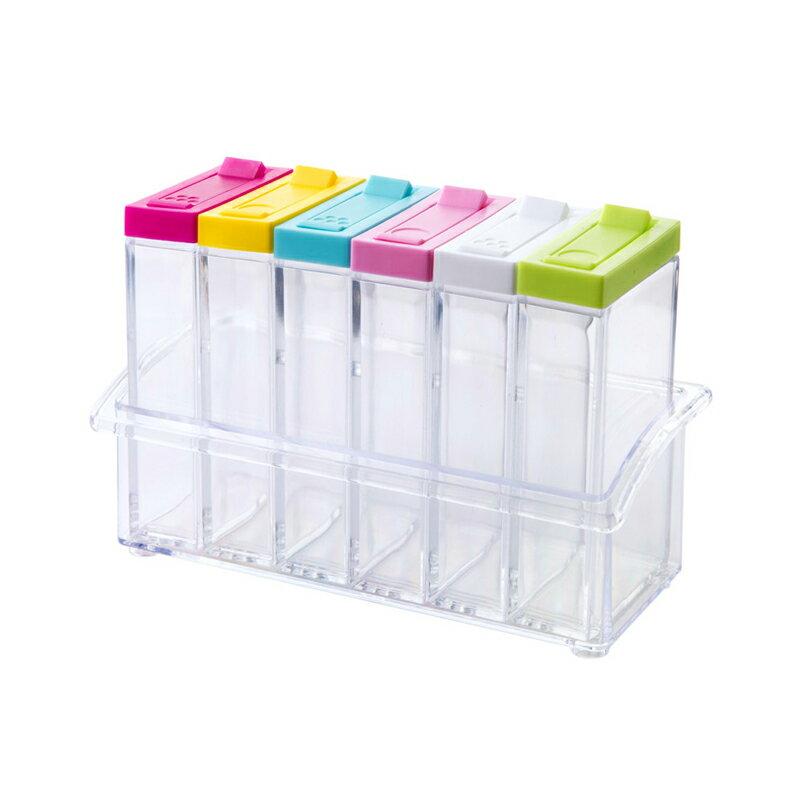 六格組合透明調味盒 按壓式快速出料 調味罐 佐料罐 香料罐 調味瓶 粉末瓶 密封罐 分裝瓶【ZA0304】【618年中慶 】《約翰家庭百貨