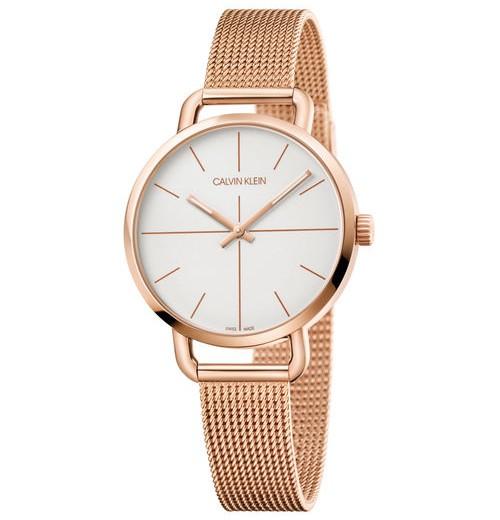 CK Calvin klein 卡文克萊 EVEN系列(K7B23626)時尚高貴氣質腕錶 / 白面+玫瑰金 36mm - 限時優惠好康折扣