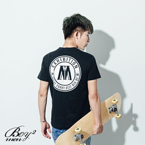 ☆BOY-2☆【ND5467】短袖T恤素面簡約質感休閒大M圓標印花短T 3
