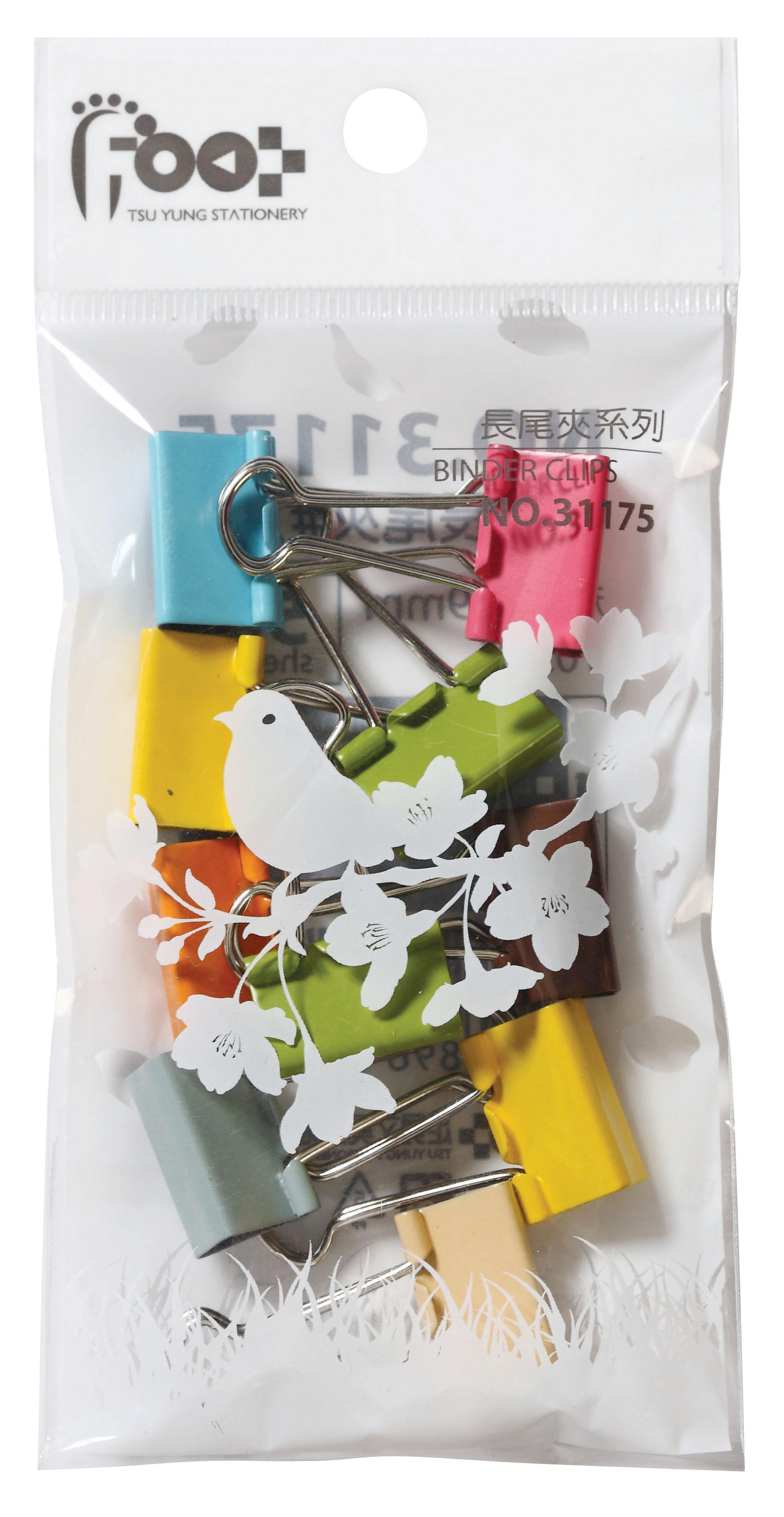 足勇 #226 吊袋裝彩色長尾夾 (19mm) (10支/包)