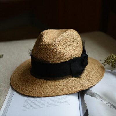 ★草帽手工編織爵士帽-海邊渡假時尚有型女遮陽帽2色73si38【獨家進口】【米蘭精品】