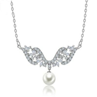 925純銀項鍊 鍍白金鑲鑽吊墜~古典優雅美麗氣質情人母親節 女飾品73ct62~ ~~米蘭