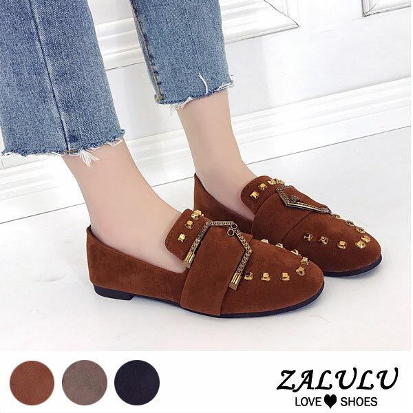 ZALULU愛鞋館ME267預購嬉皮鉚釘皮帶扣平底美型包鞋-黑卡其焦糖-35-40