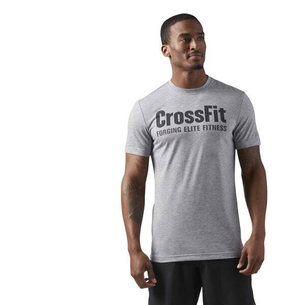 REEBOK男裝短袖訓練CrossFit乾爽排汗灰黑【運動世界】CF4544