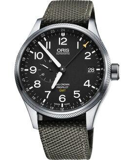 ORIS 豪利時0174877104164-0752217FC GMT軍綠小秒針機械腕錶/黑面45mm