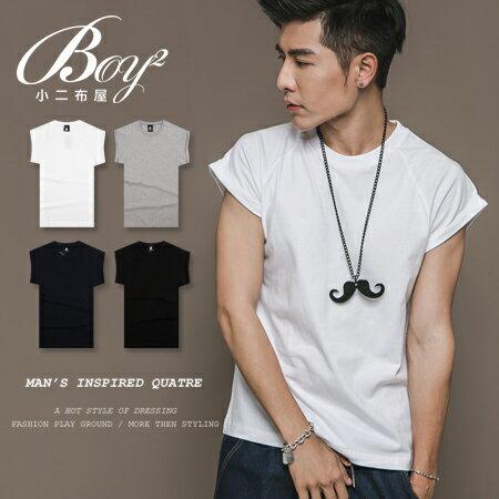 ☆BOY-2☆【KKL3018】韓版反摺棉質短T恤 0
