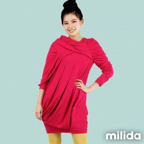【Milida,全店七折免運】-秋冬單品-洋裝款-立體肩袖造型剪裁 0