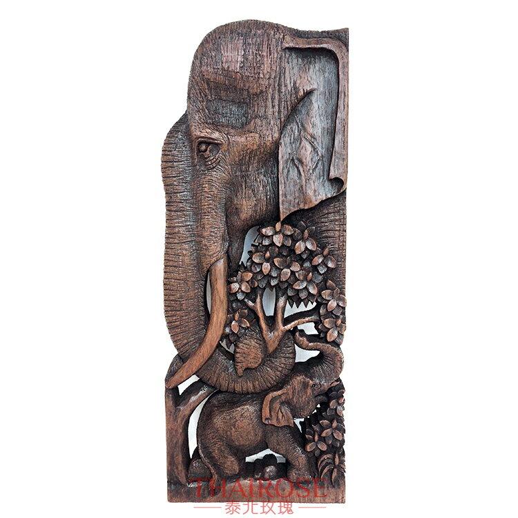 泰國精雕大象客廳木雕掛件 家居裝飾品壁掛 東南亞工藝品墻飾1入