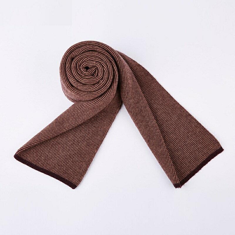 圍巾羊毛披肩-細條紋拼色保暖針織男配件3色73wh64【獨家進口】【米蘭精品】