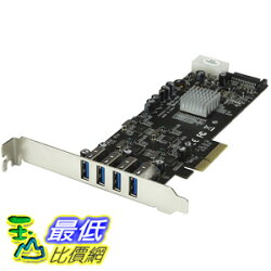 [106美國直購] 4 Port PCI Express (PCIe) SuperSpeed USB 3.0 Card Adapter w 4 Dedicated 5Gbps Channels PEXUSB3S44V