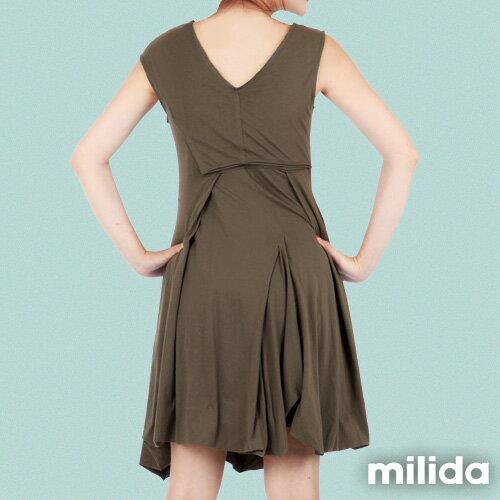 【Milida,全店七折免運】-夏季洋裝-無袖款-百搭V領百摺款 5