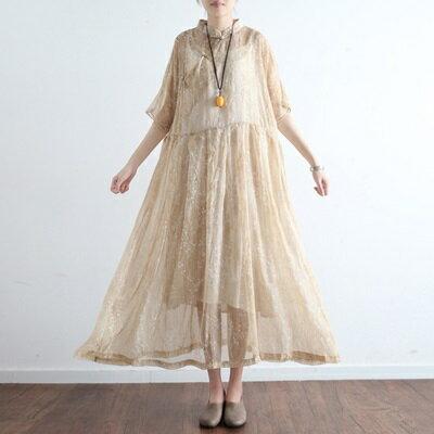 連身長裙寬版連衣裙-唯美優雅氣質復古盤扣女上衣73sm31【獨家進口】【米蘭精品】
