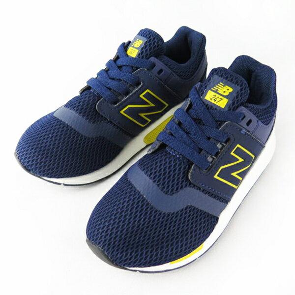 Shoestw【PH247BC】NEW BALANCE NB247 中童鞋 運動鞋 鬆緊帶 免綁帶 襪套 Wide 網布 深藍黃 1