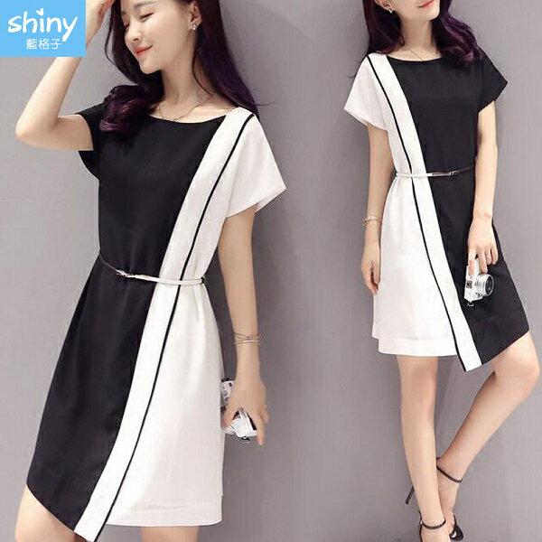 經典時尚.黑白撞色拼接短袖連身裙- shiny藍格子【V2829】 0