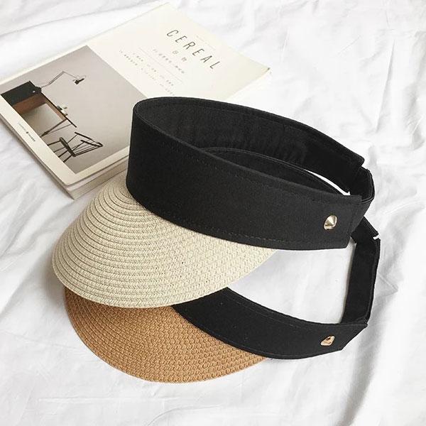 草編網球帽無頂空頂遮陽帽髮箍草帽編織防曬防飛帽子造型帽可折度假海邊運動韓國網紅ANNAS.
