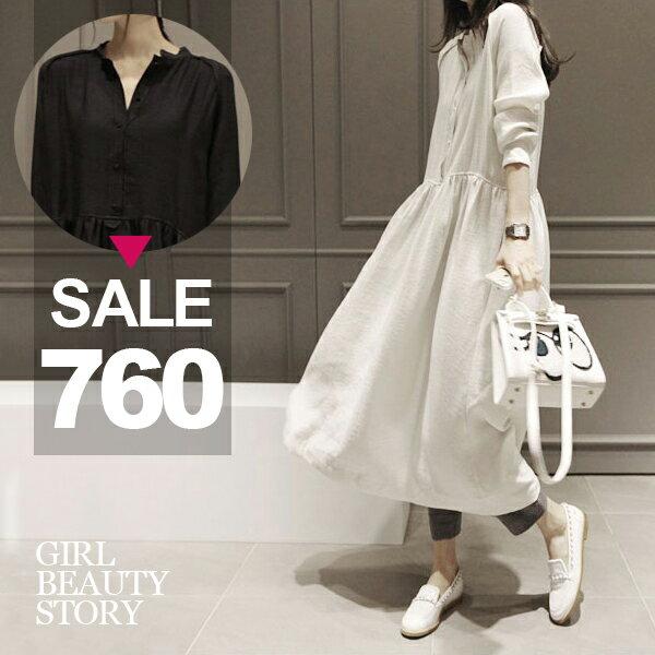 SISI【D7065】森林系女孩超寬鬆氣質長袖棉麻連身長裙洋裝