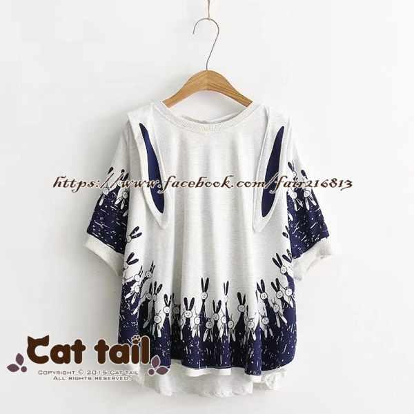 《貓尾巴》TS-0615日系小清新兔子連帽短袖T恤(森林系日系棉麻文青清新)
