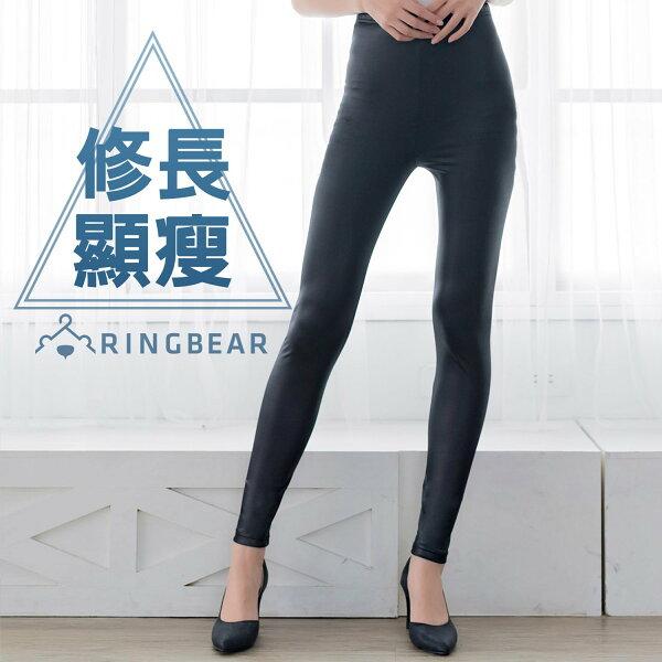 內搭褲--搖滾狂想帥氣百搭鬆緊腰頭超彈絲滑薄款仿皮褲(黑XL-4L)-R179眼圈熊中大尺碼
