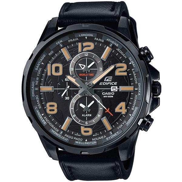 CASIO EDIFICE EFR-302L-1A遨遊世界計時腕錶/黑面50mm