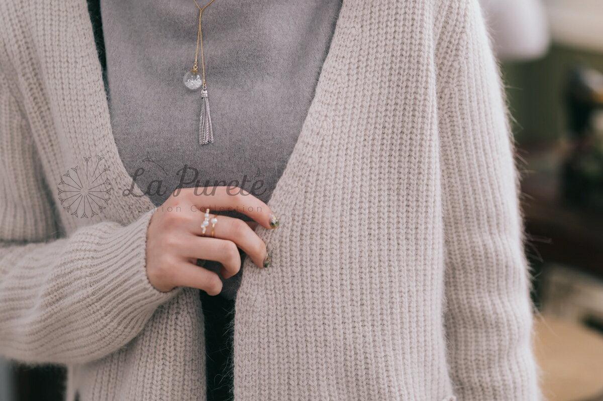 La Pureté蕾菲爾【口袋開襟兔毛外套2色】201601024