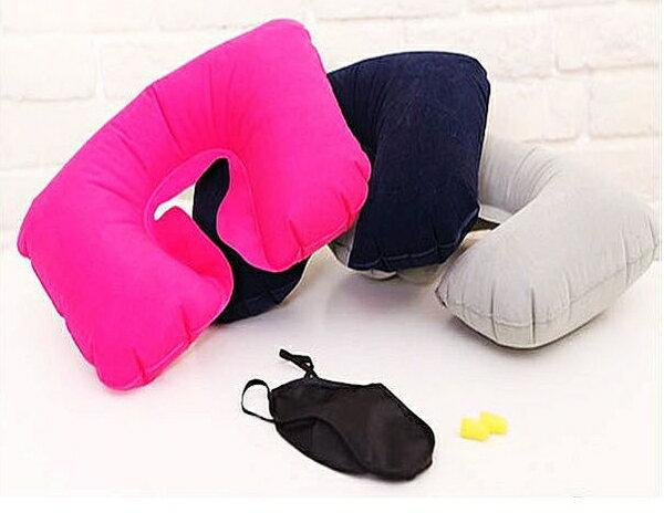 《熊熊先生》實用 ! ! ! 讓您擁有舒適旅行~充氣旅行枕 + 眼罩 + 耳塞 套組!