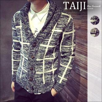針織毛衣‧格紋混色休閒V領針織毛衣外套‧二色【NTJA16208】-TAIJI
