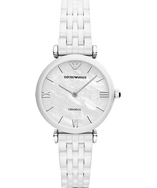 EMPORIO ARMANI/AR1485亮麗薄白陶腕錶/貝殼面32mm