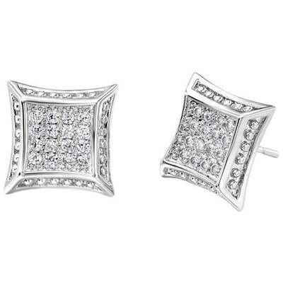 純銀耳環鍍白金鑲鑽耳飾~ 方形耳釘生日情人節 女飾品73cz25~ ~~米蘭 ~