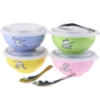 *babygo*ZEBRA 斑馬牌ST335008彩色隔熱兒童碗附蓋/附湯匙