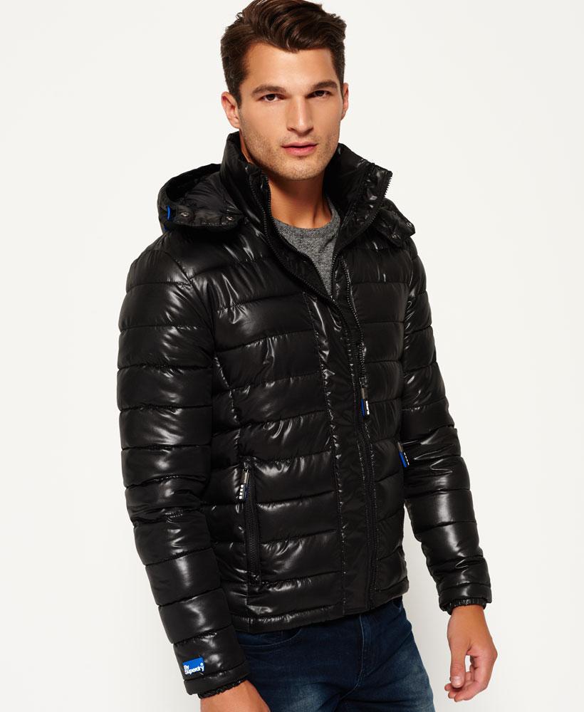 [男款]英國代購 極度乾燥 superdry Fuji 男士保暖 雙拉鍊漆皮休閒雪地加厚夾克外套 黑色 1