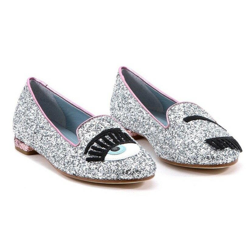 Chiara Ferragni CF 800 小牛皮 Flirting 眨眼圖案亮片樂福鞋 (銀+粉)