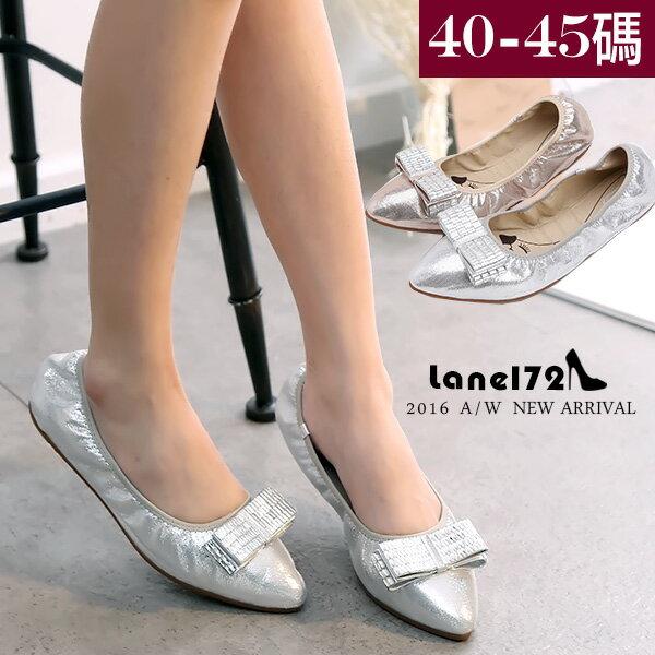 大 女鞋~水鑽蝴蝶結平底鞋/折疊鞋/婚鞋40~45碼~ZX70020 172巷鞋舖~