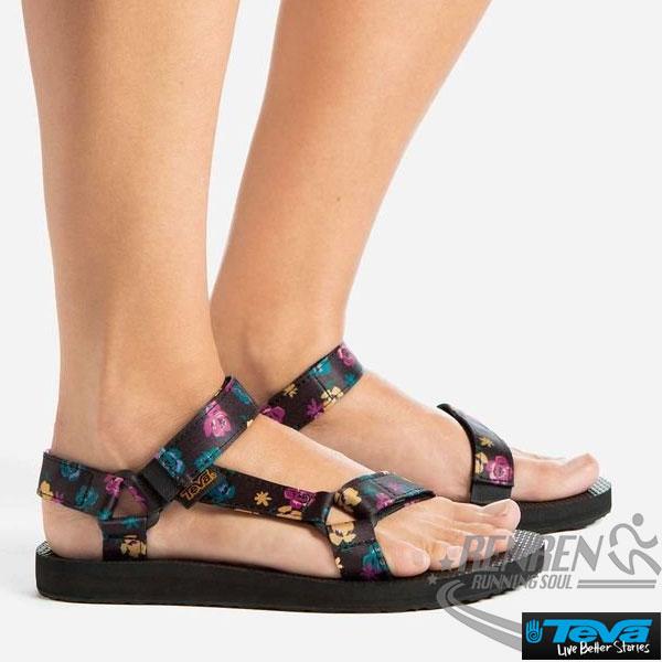 TEVA女運動涼鞋OriginalSandalFloral(黑*繽紛花)透氣排水性耐磨抗菌