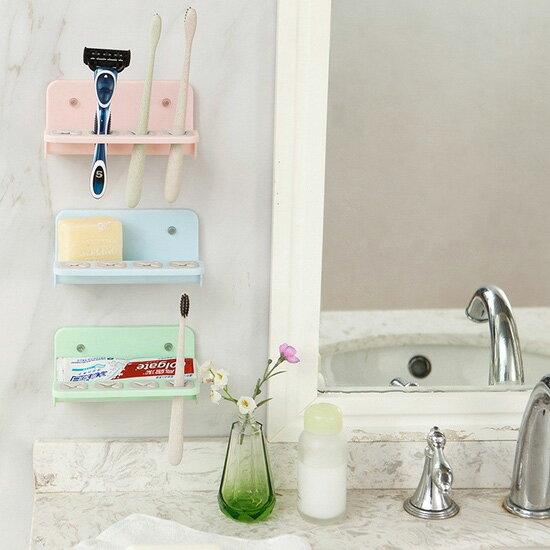 ♚MY COLOR♚掛壁吸盤置物架 香皂 牙刷 瀝水 瀝乾 乾淨 衛生 衛浴 牙膏 洗漱 刮鬍刀【G46】