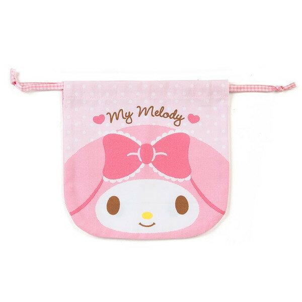 【真愛日本】17083000045 日本製純棉雙面束口袋-MM大臉 三麗鷗 melody 美樂蒂 化妝包 收納包