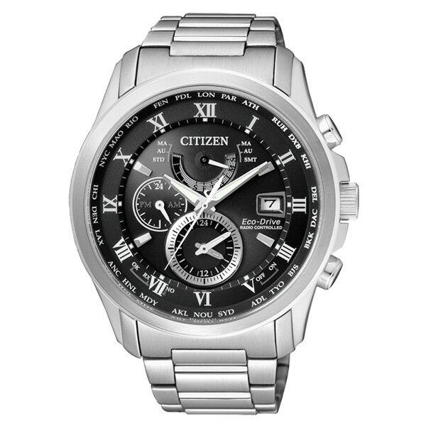 CITIZEN星辰AT9080~57E雅痞紳士電波光動能腕錶 黑面43mm