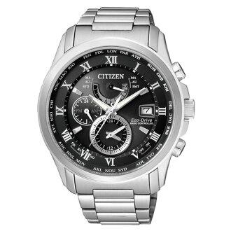 CITIZEN星辰AT9080-57E雅痞紳士電波光動能腕錶/黑面43mm