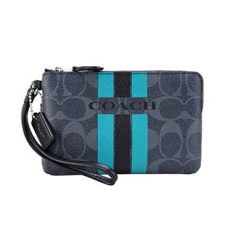 美國百分百【全新真品】Coach 手抓包 66052 手拿包 女款 小包手機包 雙色 L型拉鍊 化妝包 藍綠 H775