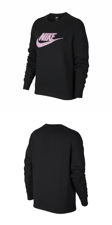 【毒】NIKE Essential Sweatshirt 大學T 圓領內刷毛 絨毛Logo 黑紫 女款 DC5139-010