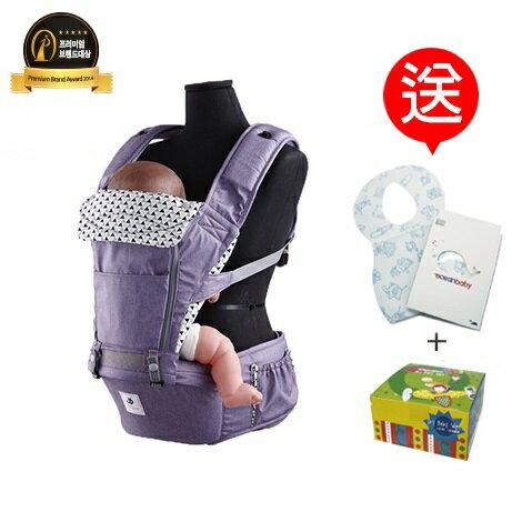 【送拋棄式圍兜+紗布巾20枚】【Pognae】 No.5超輕量機能坐墊型背巾-米蘭紫