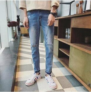 FINDSENSE品牌2017春裝膝蓋開口修身九分牛仔褲男新品