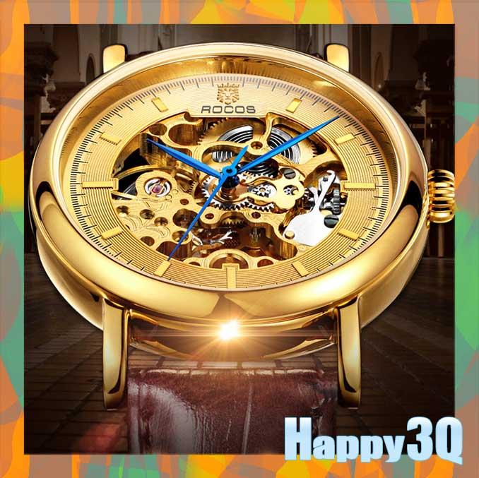 雙面鏤空時尚精鋼真皮防水全自動機械錶手錶男錶-黑炎/金龍/銀翼藍【AAA0598】