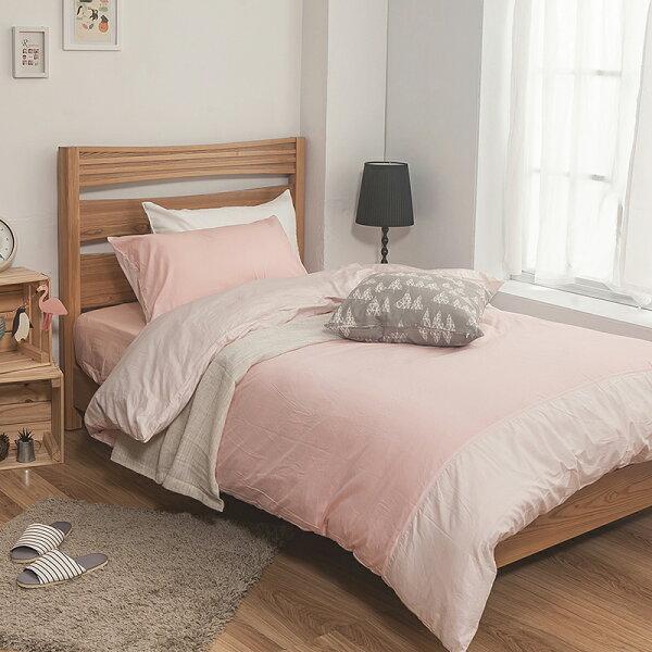 床包被套組雙人加大-100%精梳棉【雙色系列-雙色粉】含兩件枕套,戀家小舖,台灣製