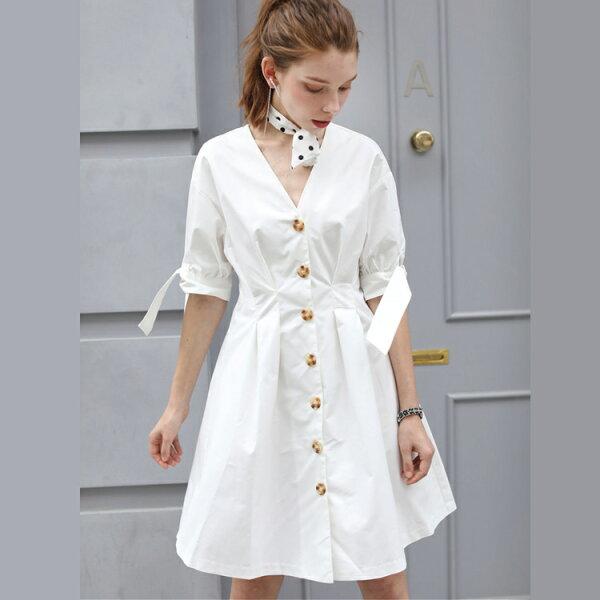 歐美風V領開釦袖口繫帶洋裝連身裙【92-16-81830-18】ibella艾貝拉