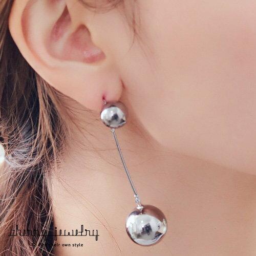 黑色大小金屬球耳環【櫻桃飾品】【10572】