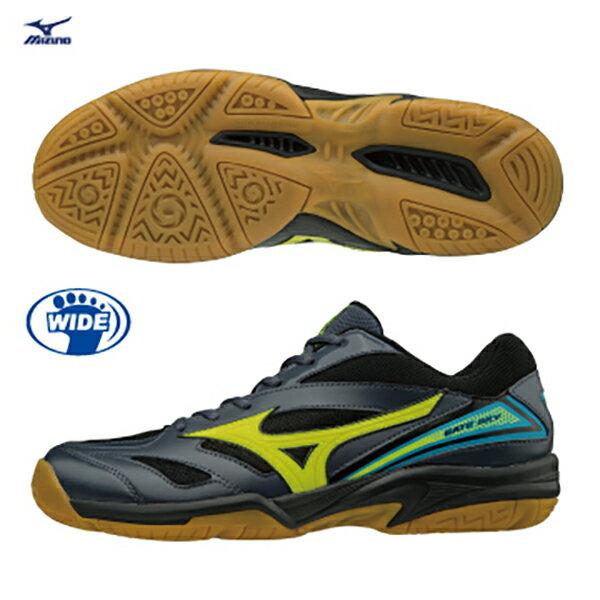 MIZUNO GATE SKY 女鞋 羽球鞋 透氣 網布 寬楦 黑 螢光黃 【運動世界】71GA174045