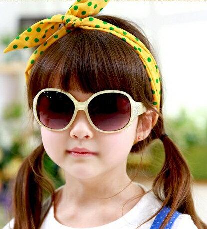 Kocotree◆閃亮晶鑽時尚兒童防紫外線護目太陽眼鏡-黃色