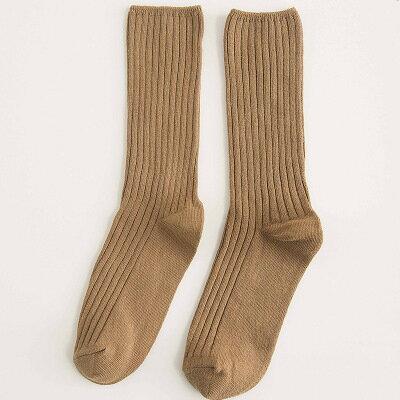 網紅款堆堆襪女日系秋冬襪子純棉款女士襪子純色學院風百搭中筒襪 3