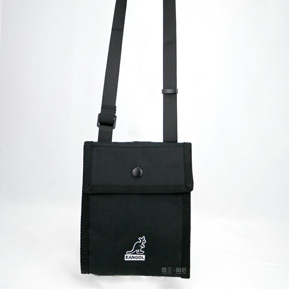 KANGOL 袋鼠 貼身包 掛脖包 隨身小包 側背包 斜背包 6055301620 (黑/卡及)