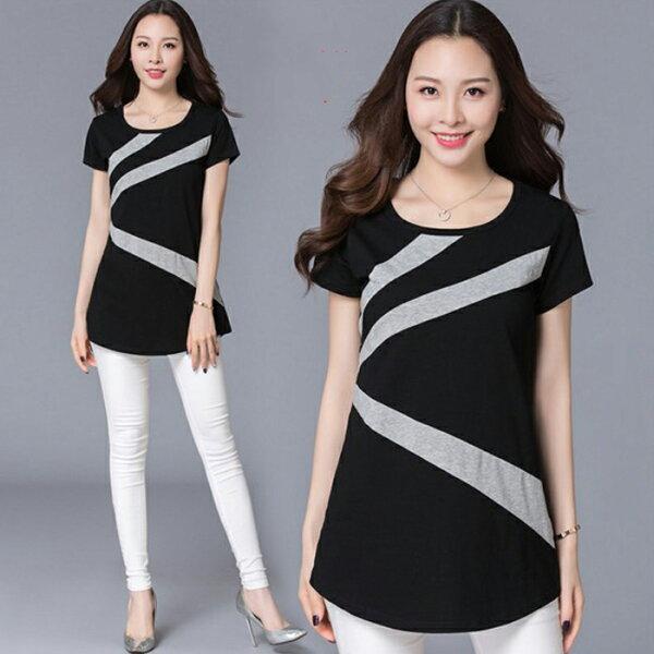 糖衣子輕鬆購【HY2056】韓版時尚百搭寬鬆顯瘦線條長版上衣
